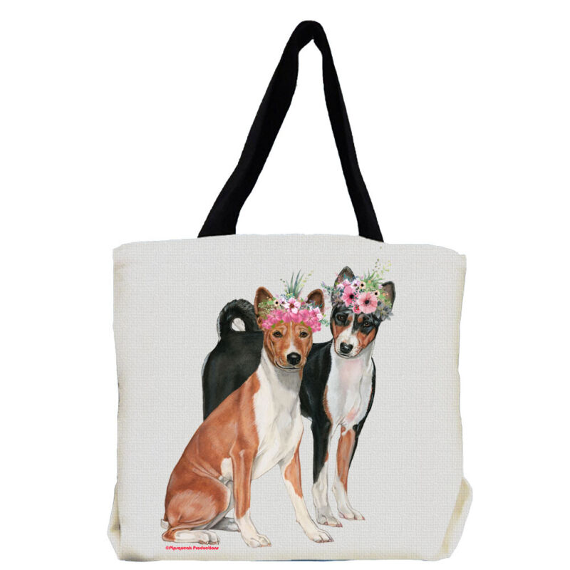 Basenji Dog with Flowers Tote Bag