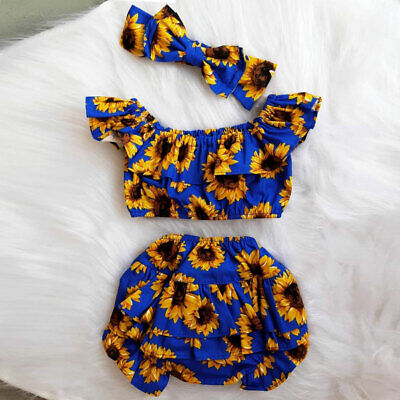 US Infant Baby Girl Kid Sunflower Sleeveless Tops Shorts Headband Outfit Clothes