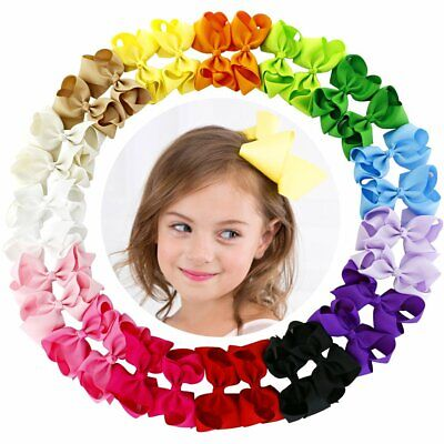 Boutique For Girls (4.5 Inch Hair Bows Grosgrain Ribbon Boutique Hair Bow Clips For Girls Teens)