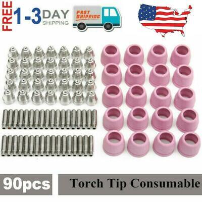 90 Pieces Consumables Set For Lotos Plasma Cutter Electrode Nozzles Cup LTP5000D