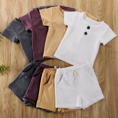 UK Newborn Kids Baby Boy Summer Tops T-shirt Shorts Pants 2Pcs Outfits Clothes