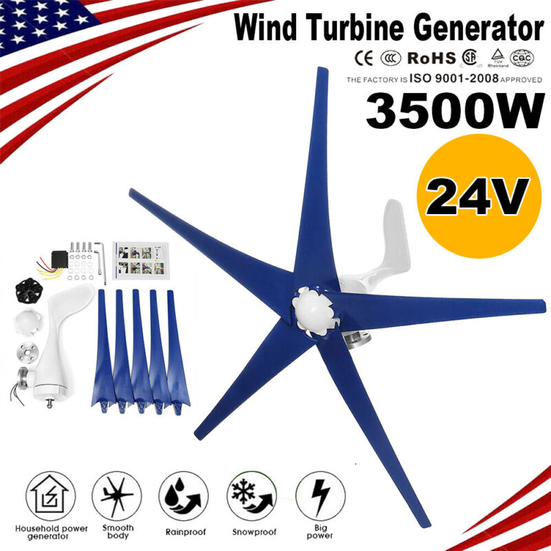 3500W 24V Wind Turbine Generator w/ Charger Controller Home Power Energy Kit AA
