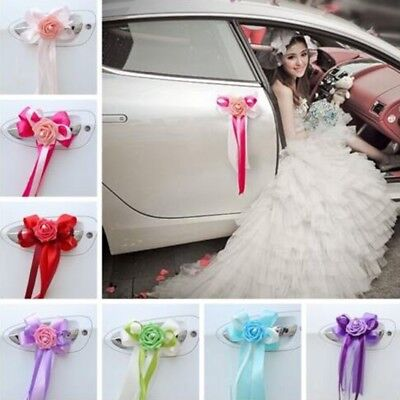 1Pc Wedding Car Decoration Ribbons Flower Door Handles and Rearview Mirror Decor](Wedding Car Decoration)