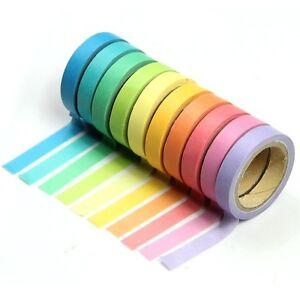 10x Decorative Washi Rainbow Sticky Paper Masking Adhesive Tape Scrapbooking DIY