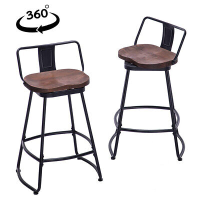 Set of 2 Swivel Bar Stools 24/26/30 inch Counter Height Dinning Chairs Low Back Back Bar Stools Chairs