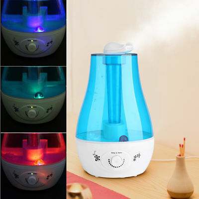 3L Luftbefeuchter Dual-Düse 360° Raumbefeuchter LED Aroma Diffusor Duftlampe NO1 ()
