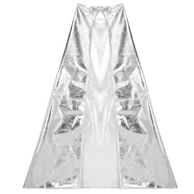 Silver Cape Costume (Shiny Metallic Silver Cape - Magician Superhero Princess Costume Party)
