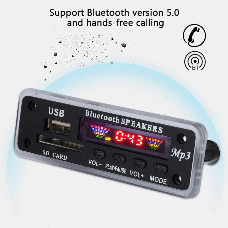 Bluetooth5.0 MP3 WMA WAV Decoder Board 12V Wireless Audio Module Color Screen