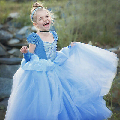 Costumes For Cinderella (Fancy Cinderella Cosplay Costume Dress Up for Kid Girls Birthday Christmas)