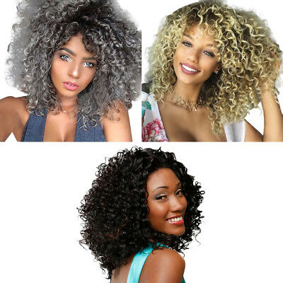 Chic Women Ombre Color Grey/White Curly Wigs Afro Kinky Curly Medium Hair Wigs