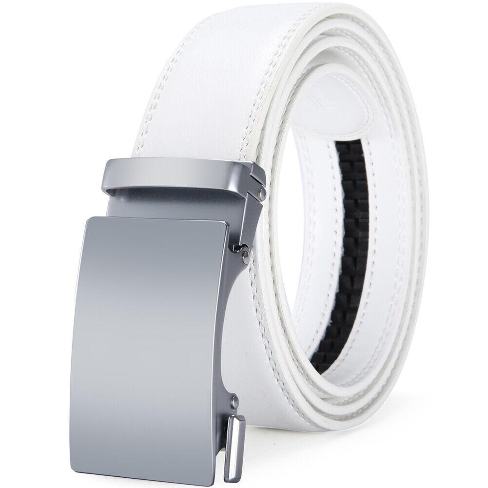 Men/'s White Belts Genuine Leather Belts Automatic Belt Buckles Fashion Strap New
