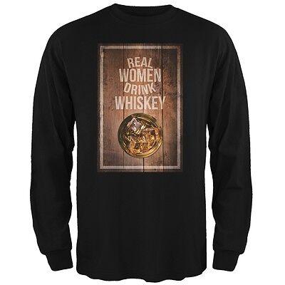 St. Patricks Day - Real Women Drink Whiskey Black Adult Long Sleeve T-Shirt