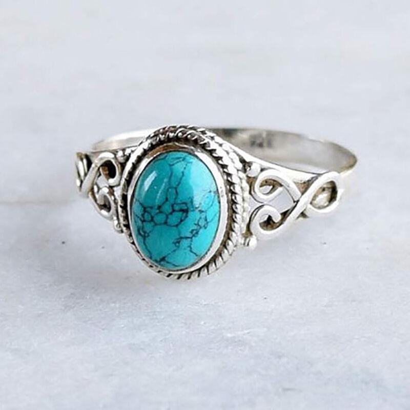 Details About Antique Turquoise Natural Gemstone Bride Engagement Vintage Wedding Ring Cheap