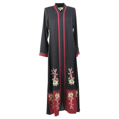 Women's Floral Embroidery and Full Body Zipper Black and Red Abaya Size 4