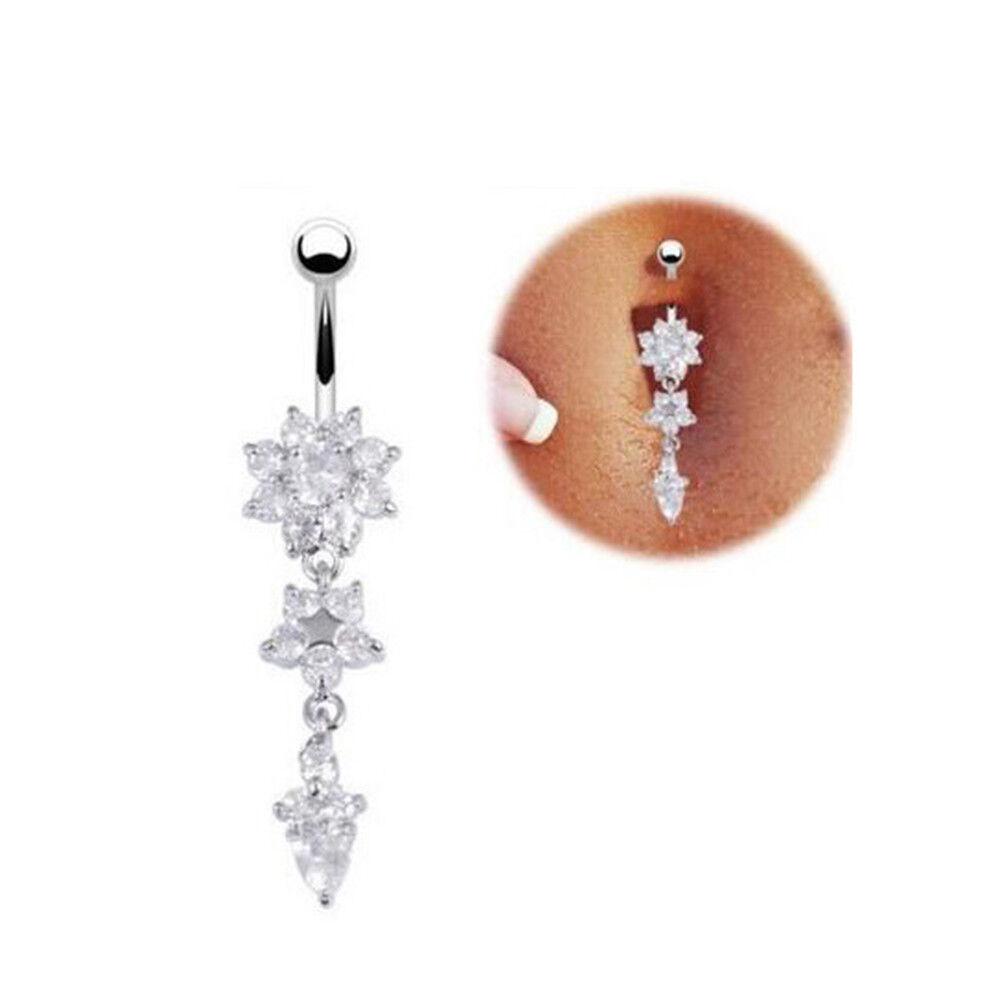 Stainless Steel Bar Belly Navel Ring Crystal Flowers Body Piercing Women Jewe FD