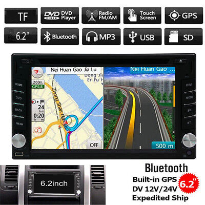 GPS Navigation Double Din Car Stereo Radio DVD Player Bluetooth + Map & Camera