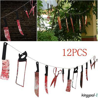 12 Hanging Garland Pennant Spooky Halloween Props Party Haunted House Banner_GG