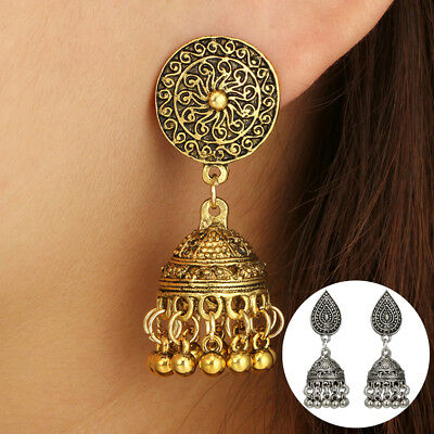 Women Vintage Geometric Carving Round Ball Bells Dangle Stud Earrings New Trendy