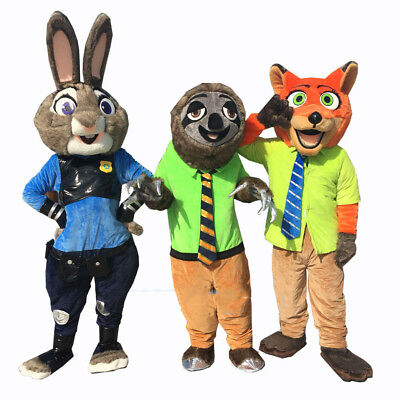 Mascot Costumes Cheap (Xmas Zootopia Mascot Nick Costume Wilde Judy Hopps &Flash Sloth Suit Party)