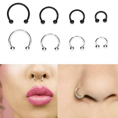 Stainless Steels Horseshoe Bar Barbell Ring Stud Eyebrow Nose Lip Ball Piercing