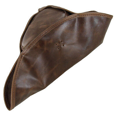 Pirate Tricorn Colonial Genuine Leather Theatre Stage Brown Costume Hat - Real Pirate Costumes