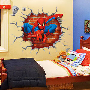 Spiderman boys kids bedroom wall sticker home decor mural children decal ebay - Decor mural original ...