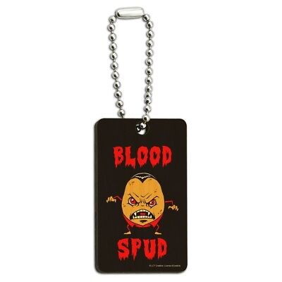Blood Spud Vampire Potato Funny Humor Wood Wooden Rectangle Keychain Key Ring for sale  Shipping to India