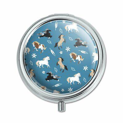 Frolicking Horses Pattern Pill Case Trinket Gift Box
