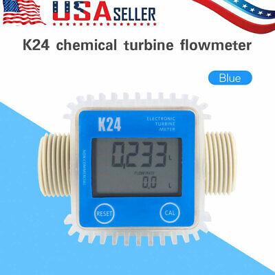 K24 Turbine Digital Diesel Fuel Flow Meter For Chemical Water Large Lcd Display