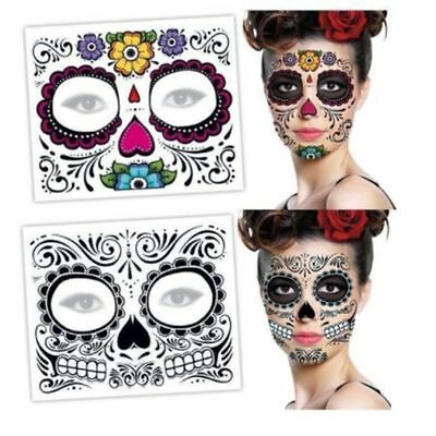 Day of the Dead Face Mask Sugar Unique Skull Temporary Tattoo Floral Design - Day Of The Dead Tattoo Designs