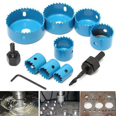 11pcs Carbon Steel Hole Saw Cutting Set Kit 19-64mm Wood Metal Alloys with (Carbon Steel Hole Saw Set)