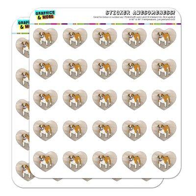 English Bulldog Pet Dog Heart Shaped Planner Calendar Scrapbook Craft Stickers