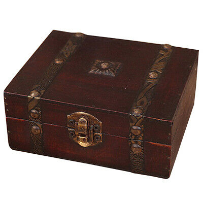 Wooden Vintage Lock Treasure Chest Jewelery Storage Box Case Organiser Ring K2V1 - Wooden Treasure Chest Box