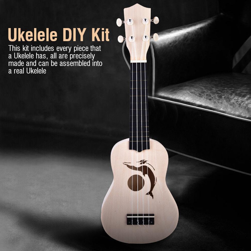 21 Zoll Ukelele Ukulele DIY Kit Hawaii Gitarre Lackierbar Musikinstrumente Hot Delphin
