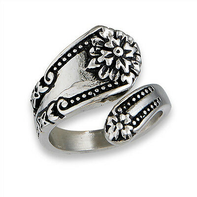 Victorian Flower Spoon Ring Stainless Steel Open Wrap Vintage Band Sizes 7-10 - Wrap Rings