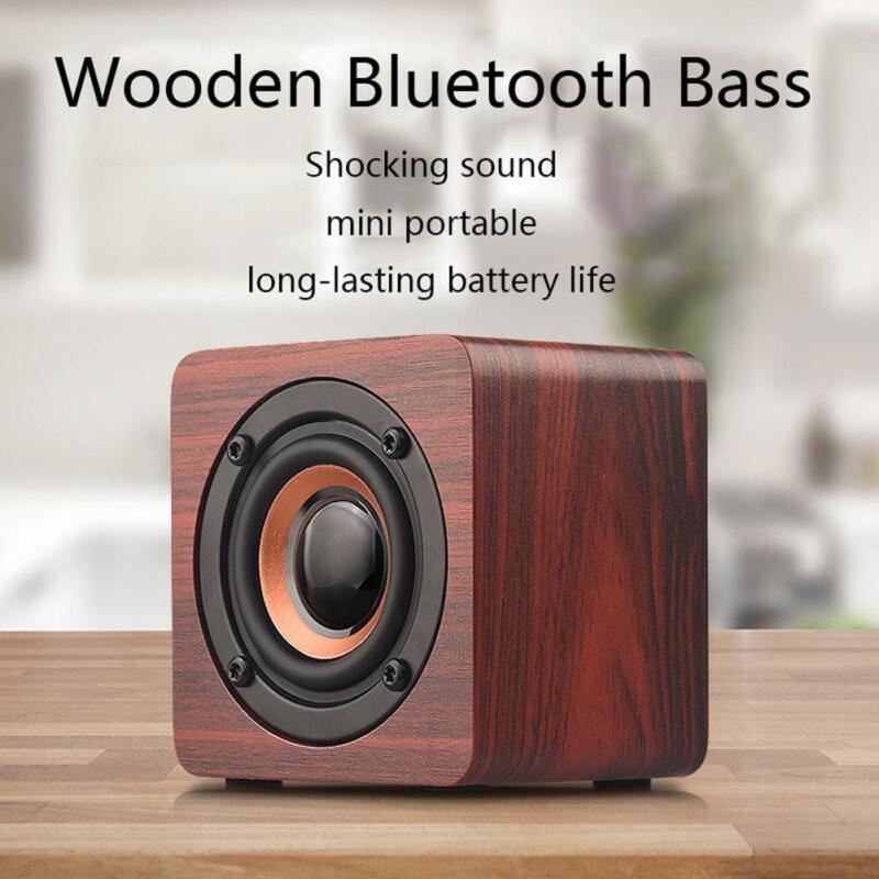 Q1 Wooden Wood Subwoofer Wireless Bluetooth Speaker HIFI Stereo Bass Speaker