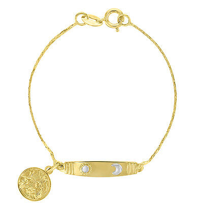 18k Gold Plated Guardian Angel Tag ID Bracelet Sun Moon Baby Toddlers 5.5""