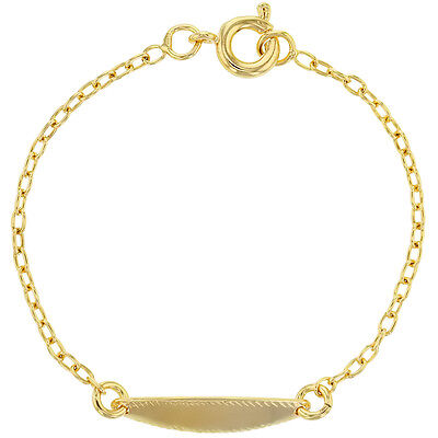 18k Gold Plated Baby Oval Tag Children Kids ID Bracelet 4.5
