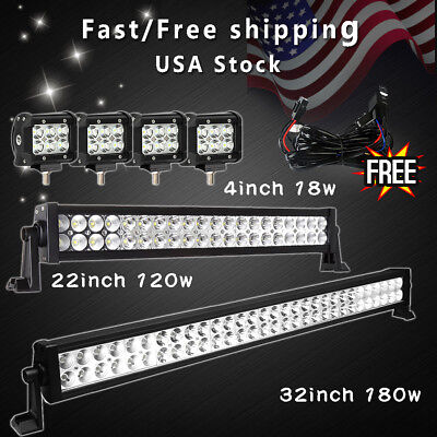 """30Inch LED Not burdensome Bar Combo+22in+4"""" CREE PODS OFFROAD SUV 4WD ATV FOG JEEP+Wiring"""