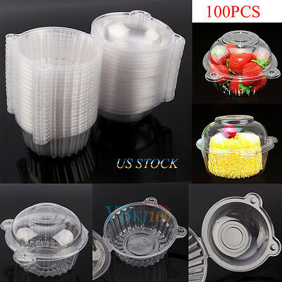 100X Clear Plastic Single Cup Cake Boxes Holder Muffin Case Pods Domes Party US - Single Cupcake Boxes
