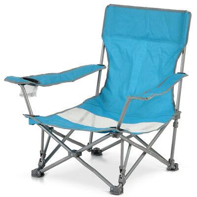 Spiaggina Sedia da Spiaggia Campeggio Pieghevole a Ombrello con Braccioli Azzuro