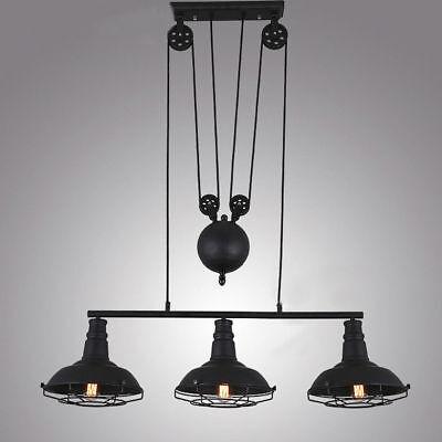 Vintage Pulley Pendant Lamp Island Kitchen Ceiling Light Metal Cage Chandelier