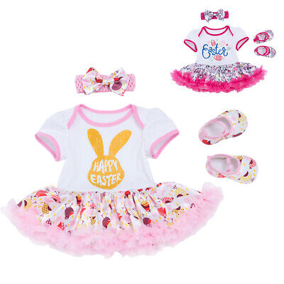 Easter Bunny Tutu Romper Dress Headband Shoes 3PCS Outfits Clothes For Baby Girl
