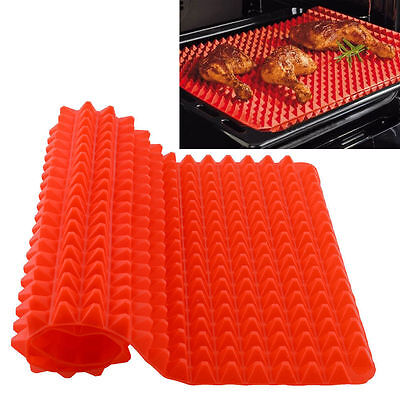 Non-Stick Silicone Pyramid Oven Baking Tray Sheets Mat Pan Fat Reducing Cooking
