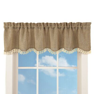 Rustic Burlap Lace Rod Pocket Window Valance, Brown, by