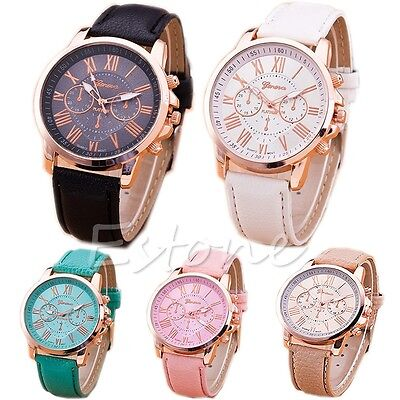 Fashion Women Geneva Stainless Steel Faux Leather Band Quartz Analog Wrist Watch