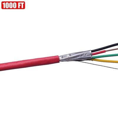 1000ft Shielded Solid Fire Alarm Cable 184 Copper Wire 18awg Fplp Cl3p Ft6 Red