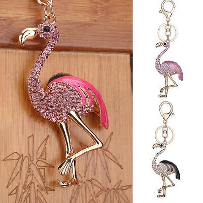 Cute Flamingo LED Flashlight Pendant Key Ring Sound Keychain Car Handbag Gift