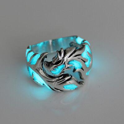 Unique Cool Mens Boys Luminous Dragon Ring Vintage Jewelry Club Pub Band Ring