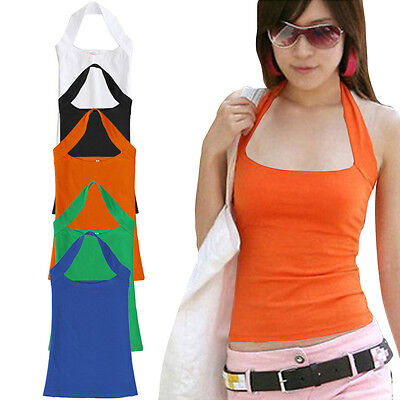 Women Sexy Halter Sleeveless Vest Tank Backless Top Strapless Bottoming Shirt